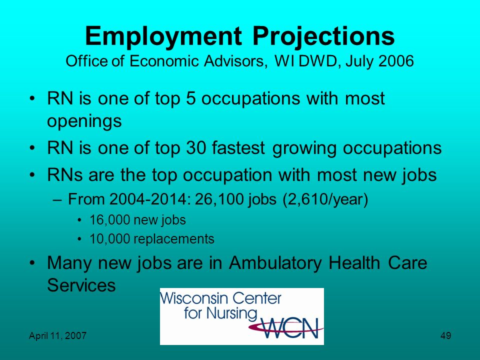 Employment Projections Office of Economic Advisors, WI DWD, July 2006