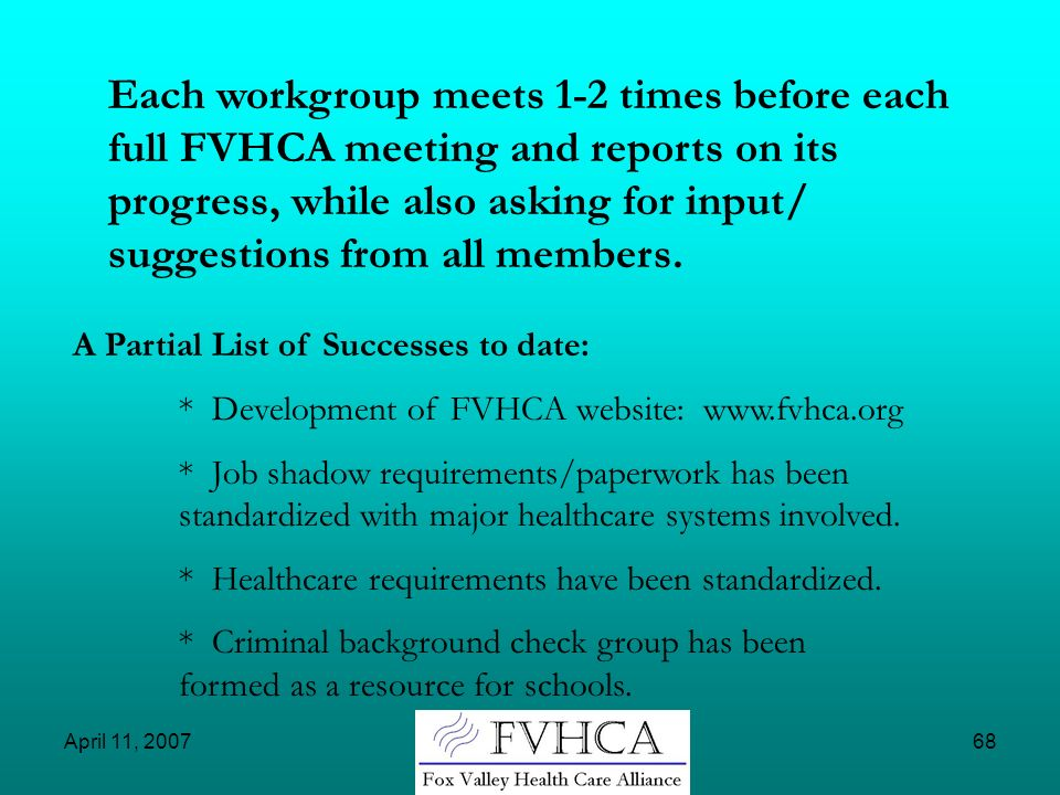 Each workgroup meets 1-2 times before each full FVHCA meeting and reports on its progress, while also asking for input/ suggestions from all members.