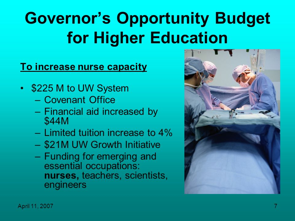 Governor's Opportunity Budget for Higher Education