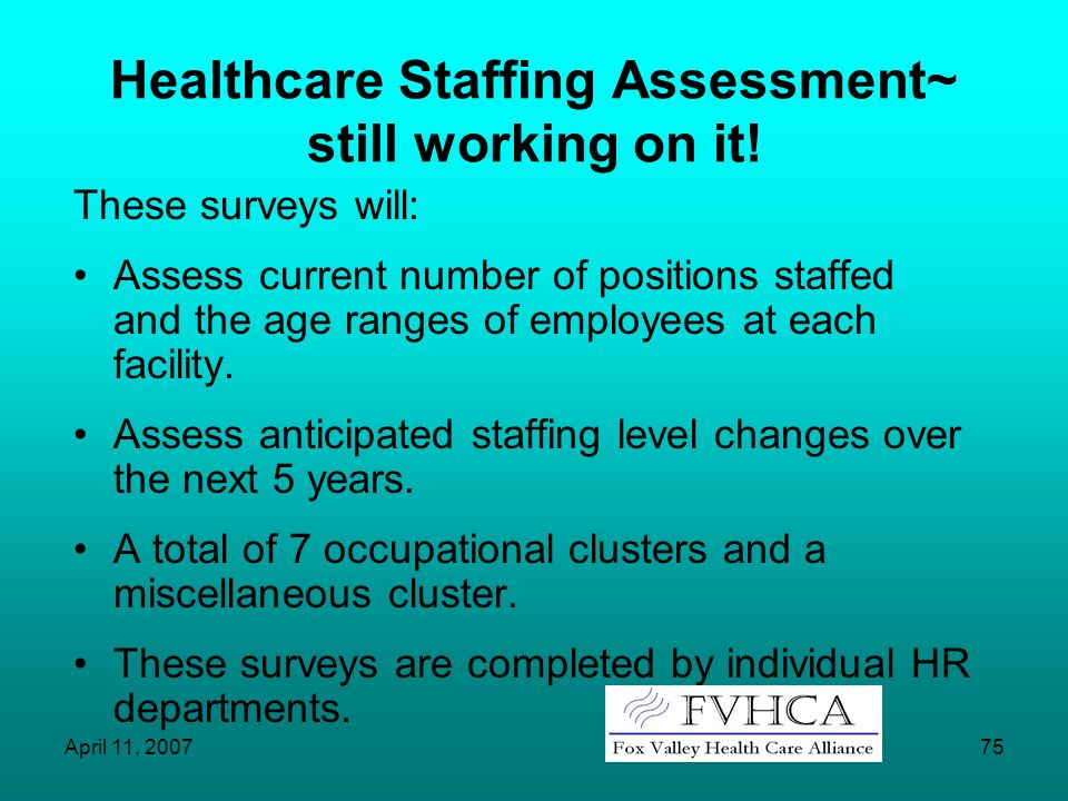 Healthcare Staffing Assessment~ still working on it!