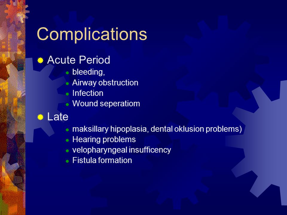 Complications Acute Period Late bleeding, Airway obstruction Infection