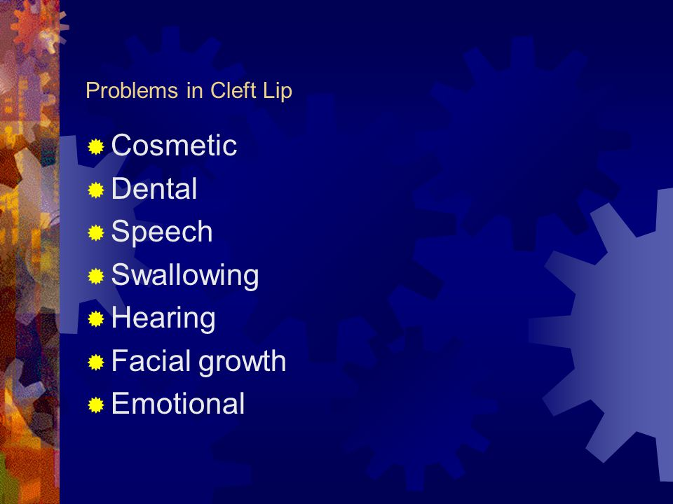 Cosmetic Dental Speech Swallowing Hearing Facial growth Emotional