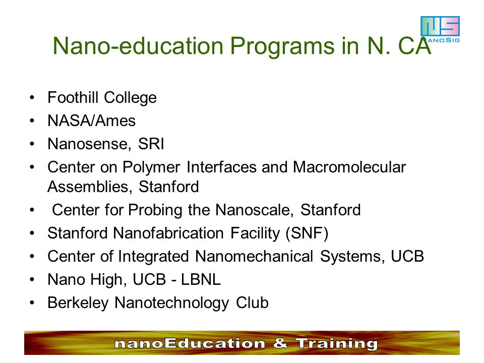 Nano-education Programs in N. CA