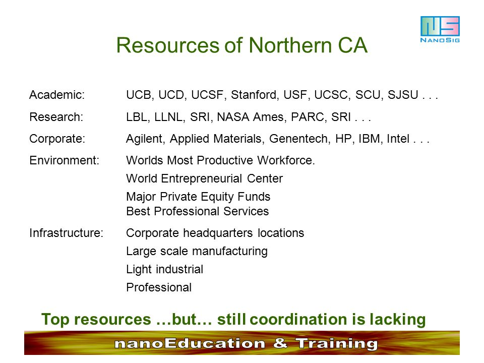 Resources of Northern CA