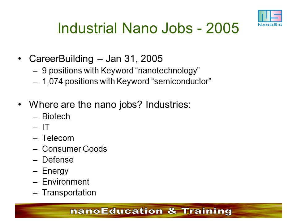 Industrial Nano Jobs - 2005 CareerBuilding – Jan 31, 2005