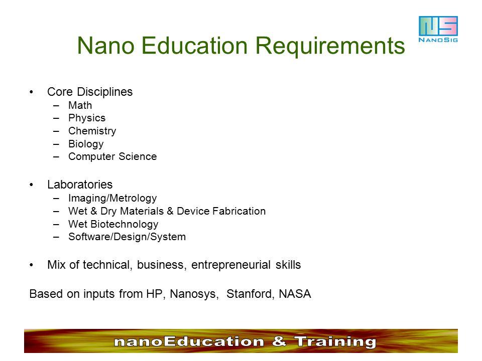 Nano Education Requirements