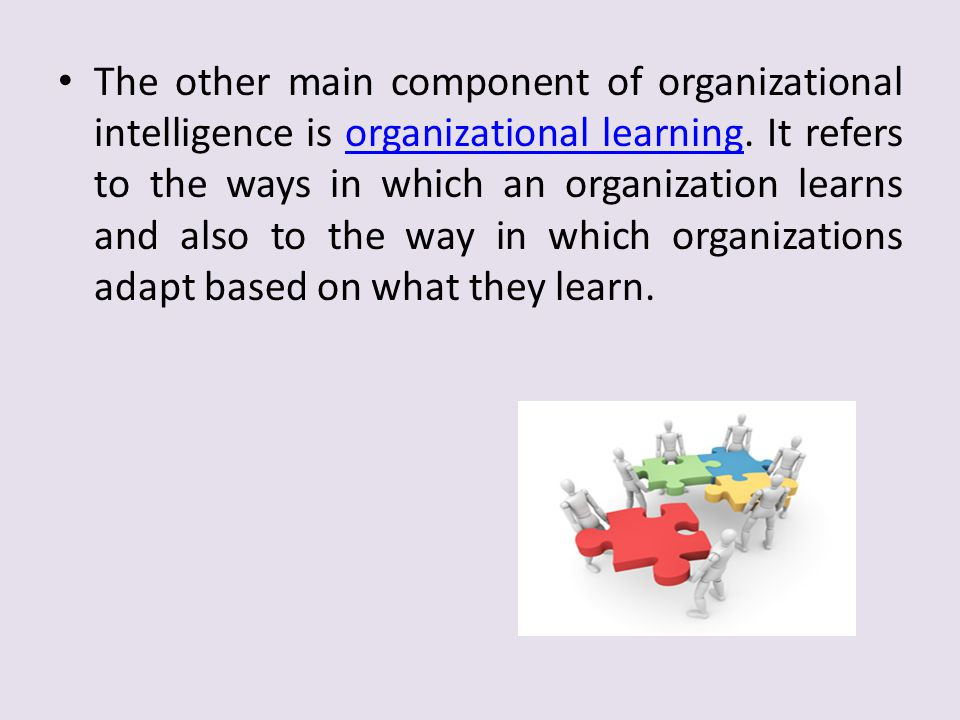 The other main component of organizational intelligence is organizational learning.