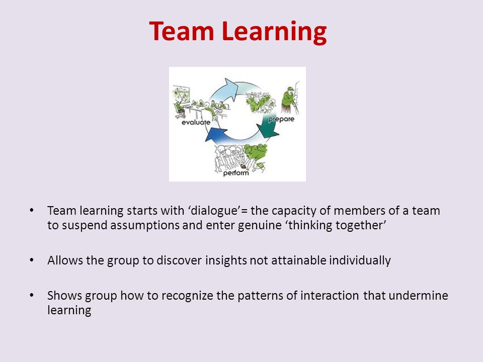 Team Learning Team learning starts with 'dialogue'= the capacity of members of a team to suspend assumptions and enter genuine 'thinking together'
