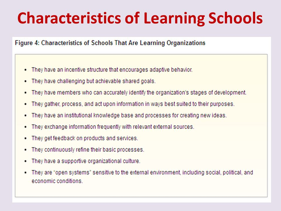 Characteristics of Learning Schools