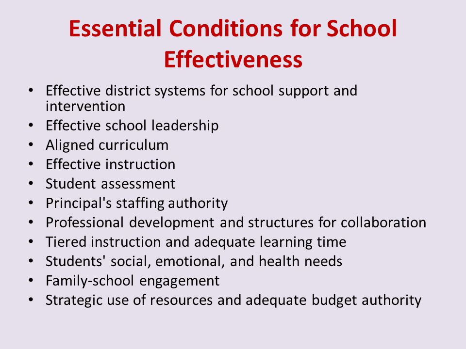 Essential Conditions for School Effectiveness
