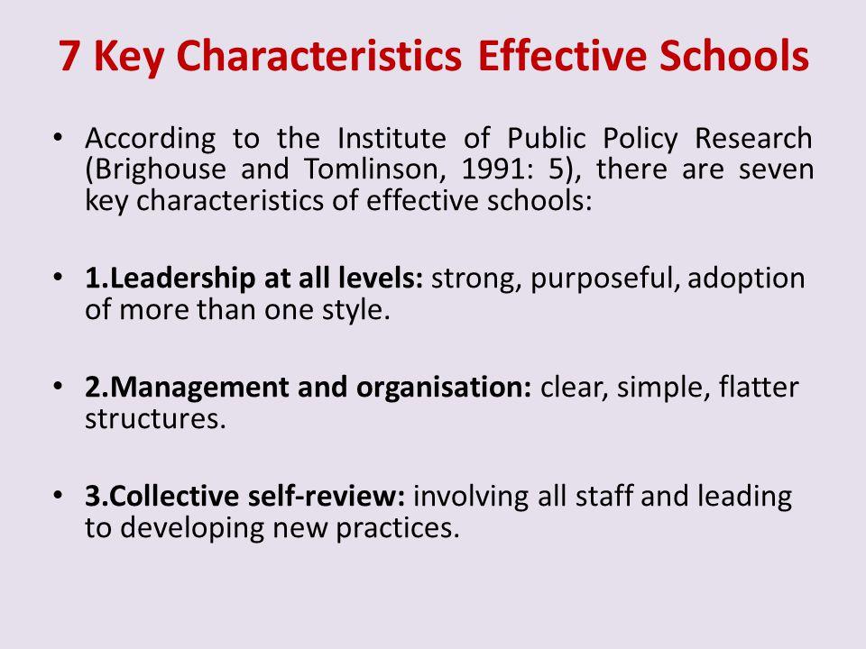 7 Key Characteristics Effective Schools