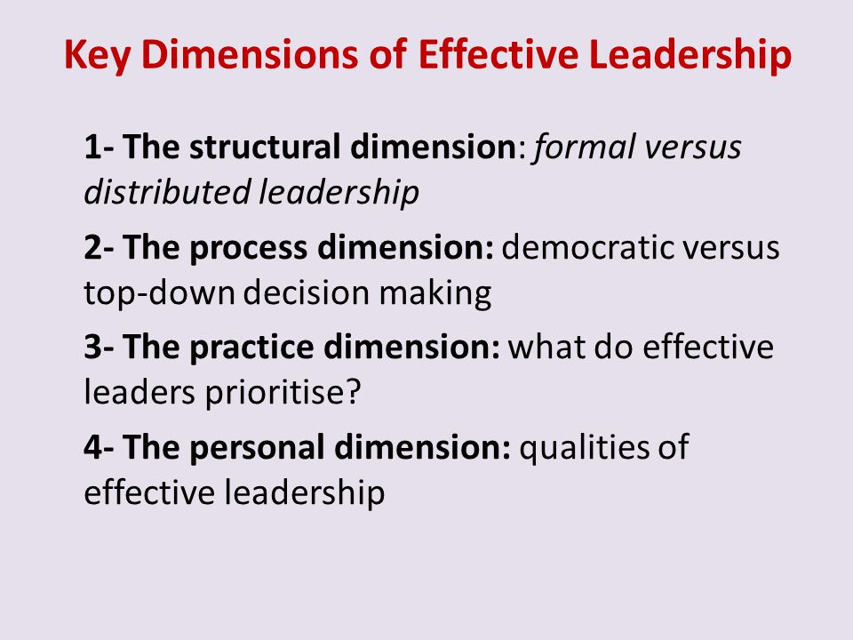 Key Dimensions of Effective Leadership