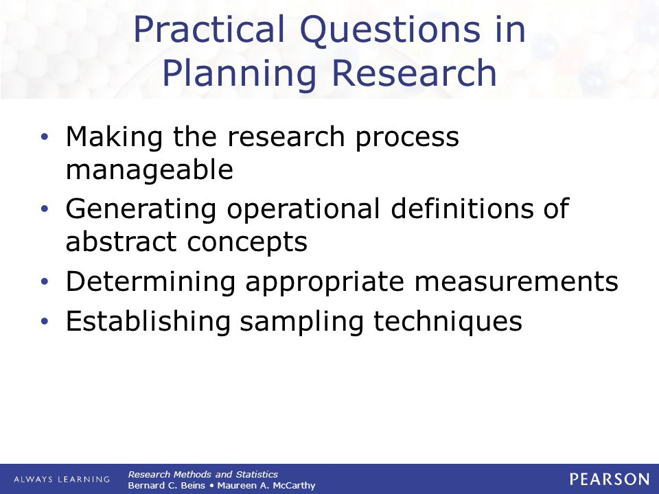 Practical Questions in Planning Research