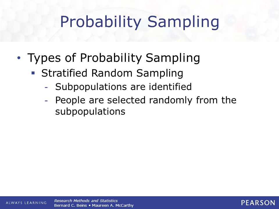 Probability Sampling Types of Probability Sampling