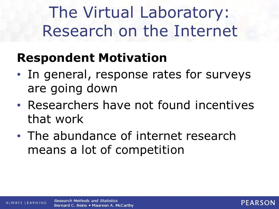 The Virtual Laboratory: Research on the Internet