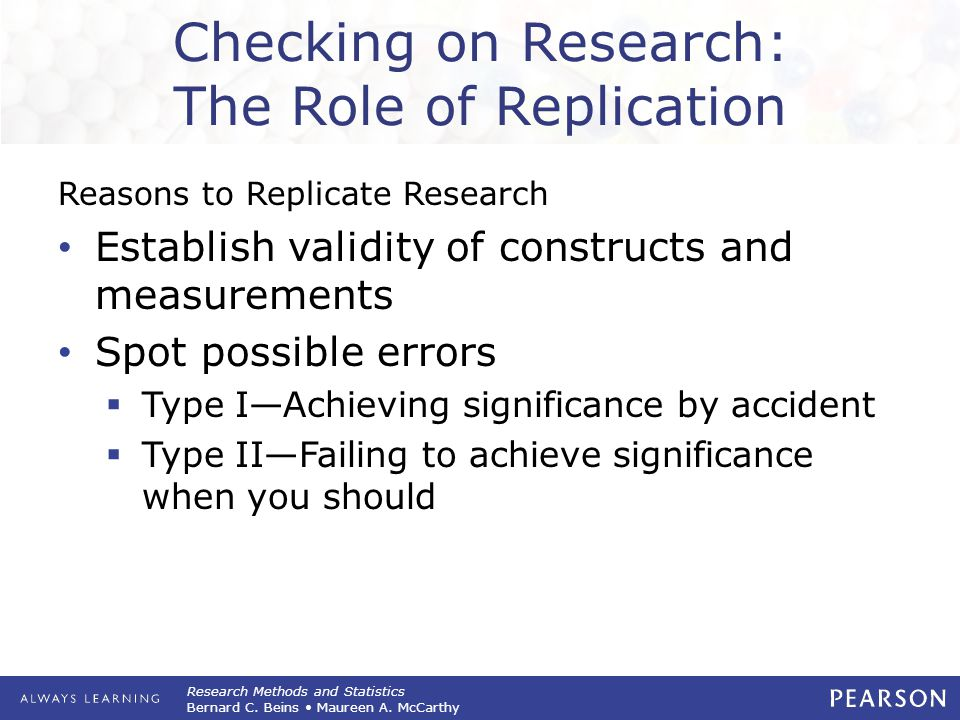Checking on Research: The Role of Replication
