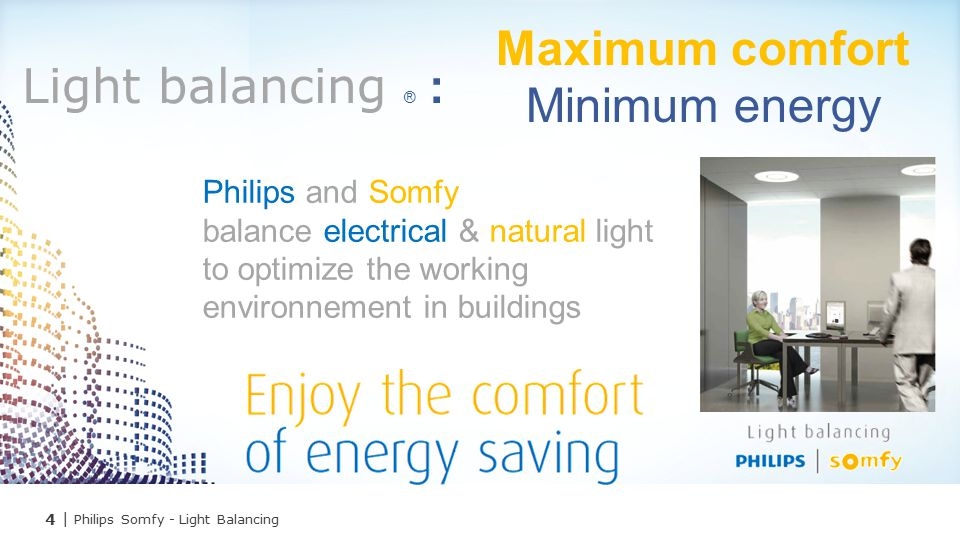 Maximum comfort Light balancing ® : Minimum energy Philips and Somfy
