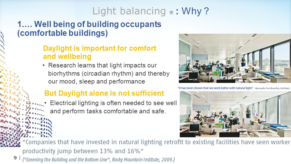 Light balancing ® : Why 1.… Well being of building occupants (comfortable buildings) Daylight is important for comfort and wellbeing.