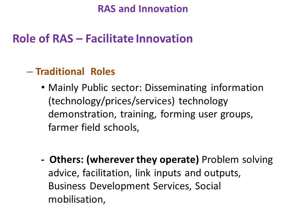 Role of RAS – Facilitate Innovation