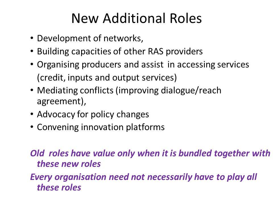 New Additional Roles Development of networks,
