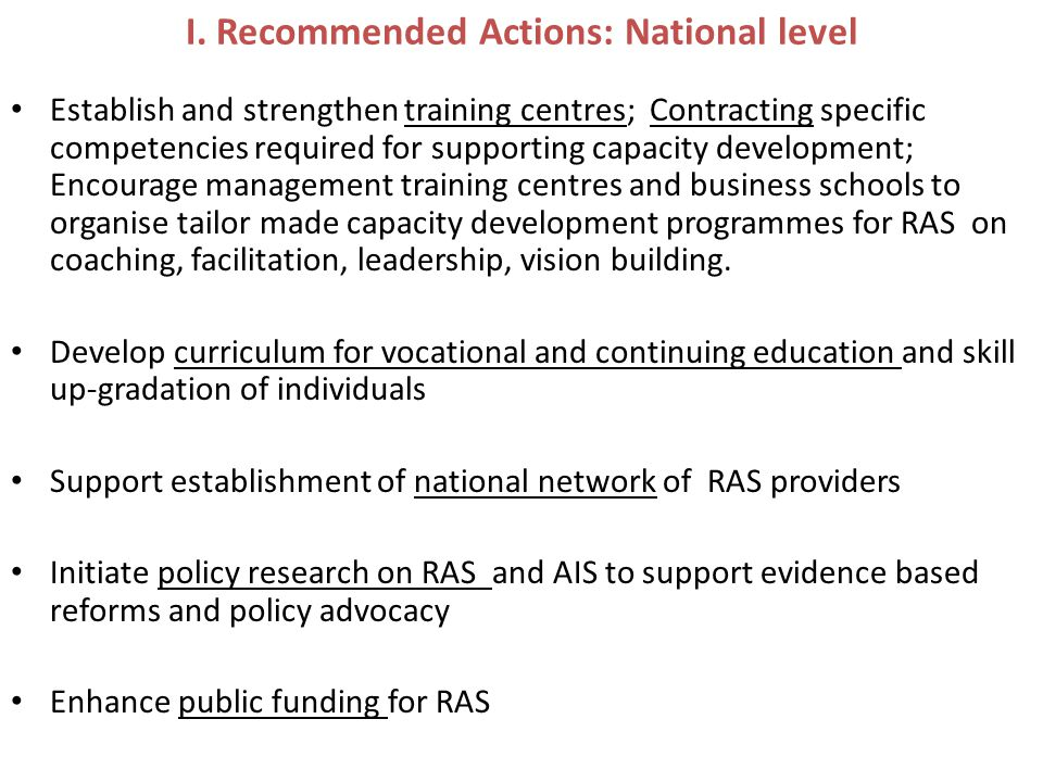 I. Recommended Actions: National level