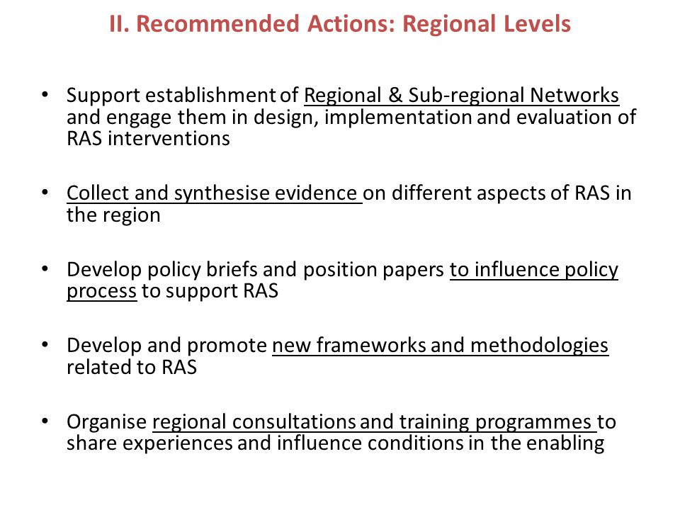 II. Recommended Actions: Regional Levels