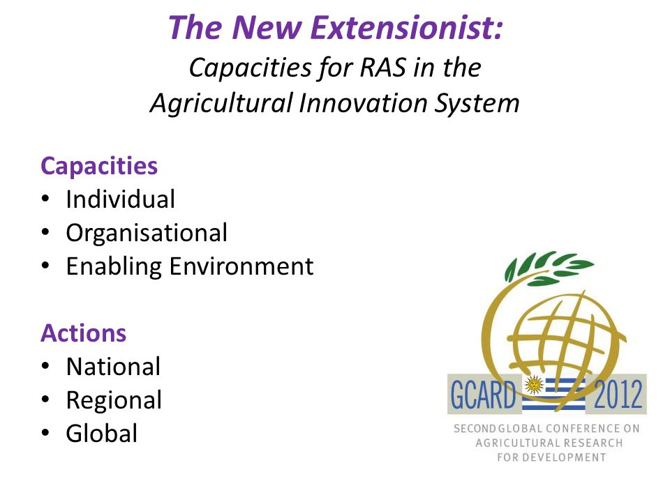 The New Extensionist: Capacities for RAS in the Agricultural Innovation System