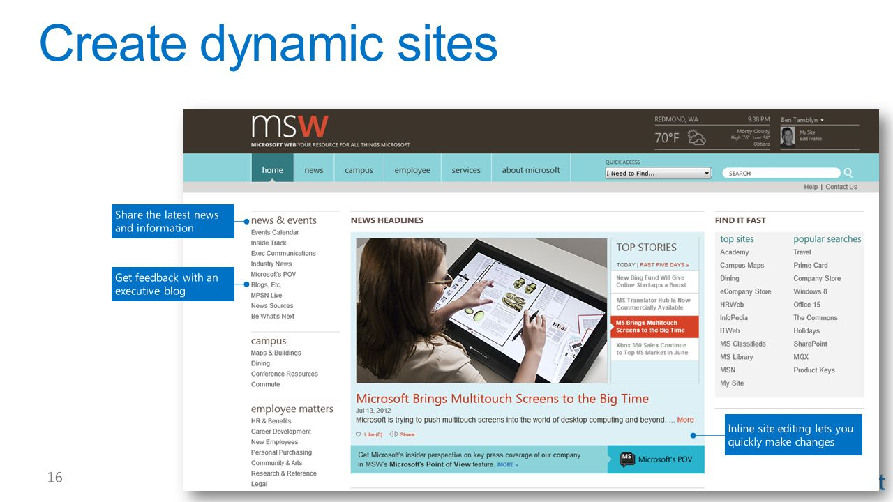 Create dynamic sites Share the latest news and information