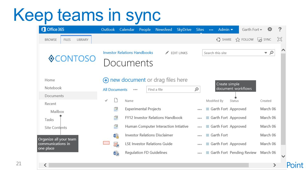 Keep teams in sync Create simple document workflows