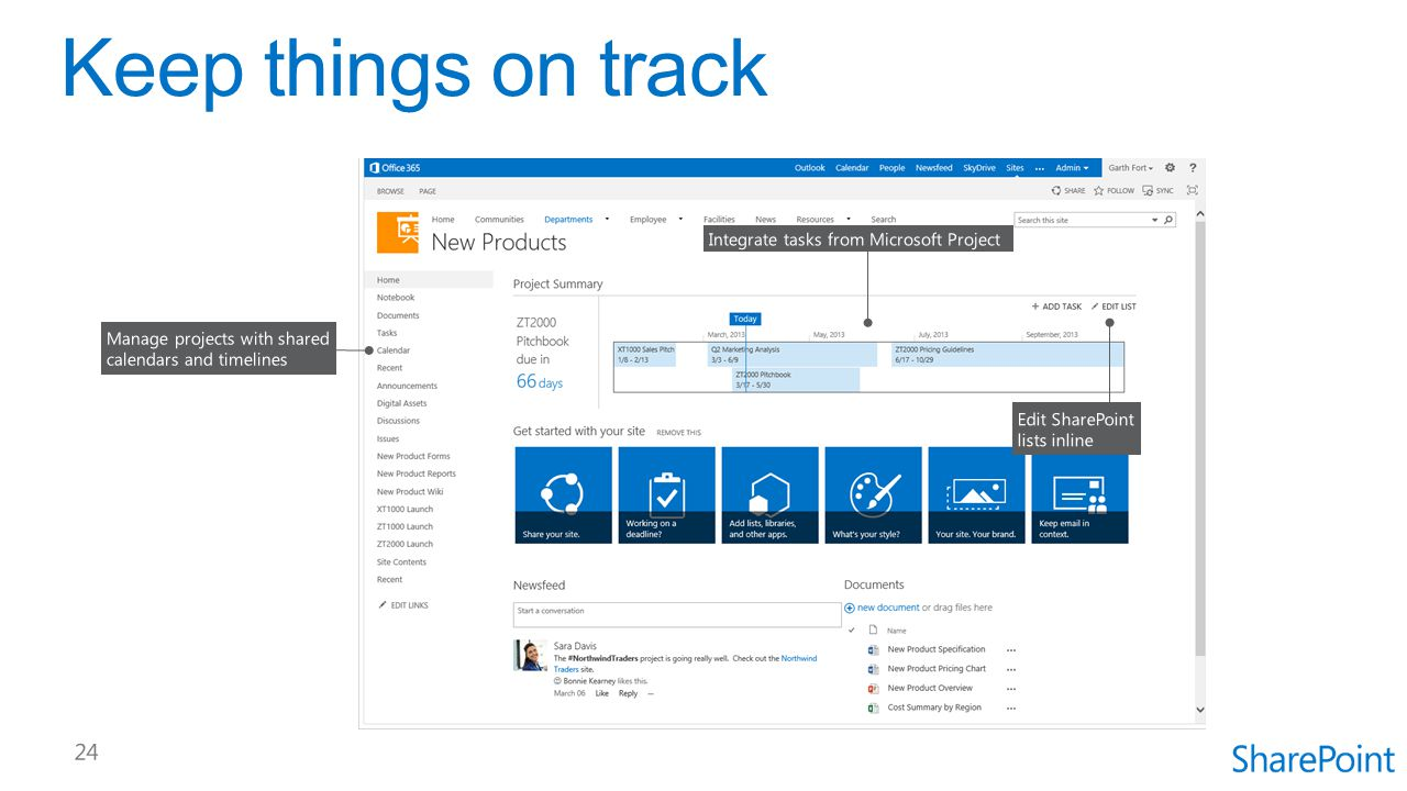 Keep things on track Integrate tasks from Microsoft Project