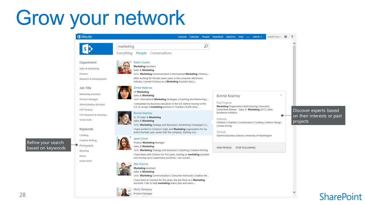 Grow your network Discover experts based on their interests or past projects.