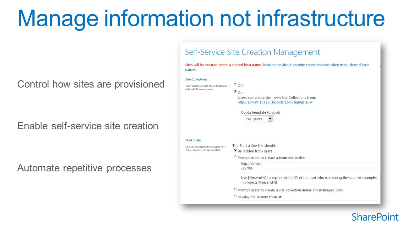 Manage information not infrastructure