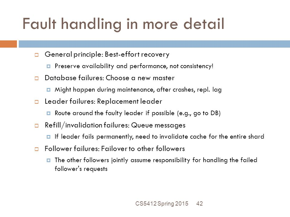 Fault handling in more detail