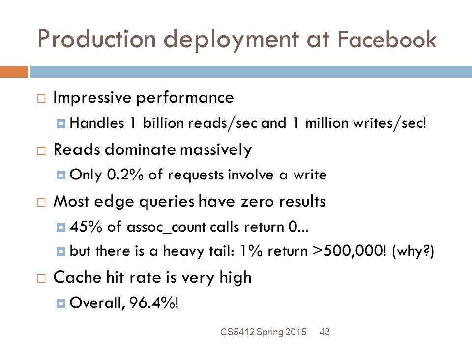 Production deployment at Facebook