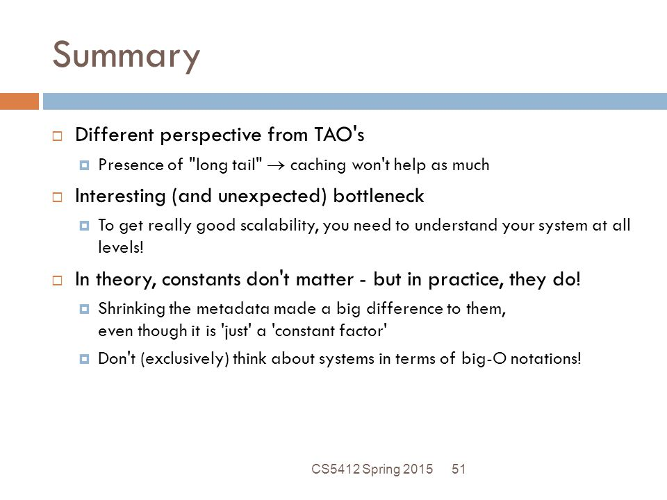 Summary Different perspective from TAO s