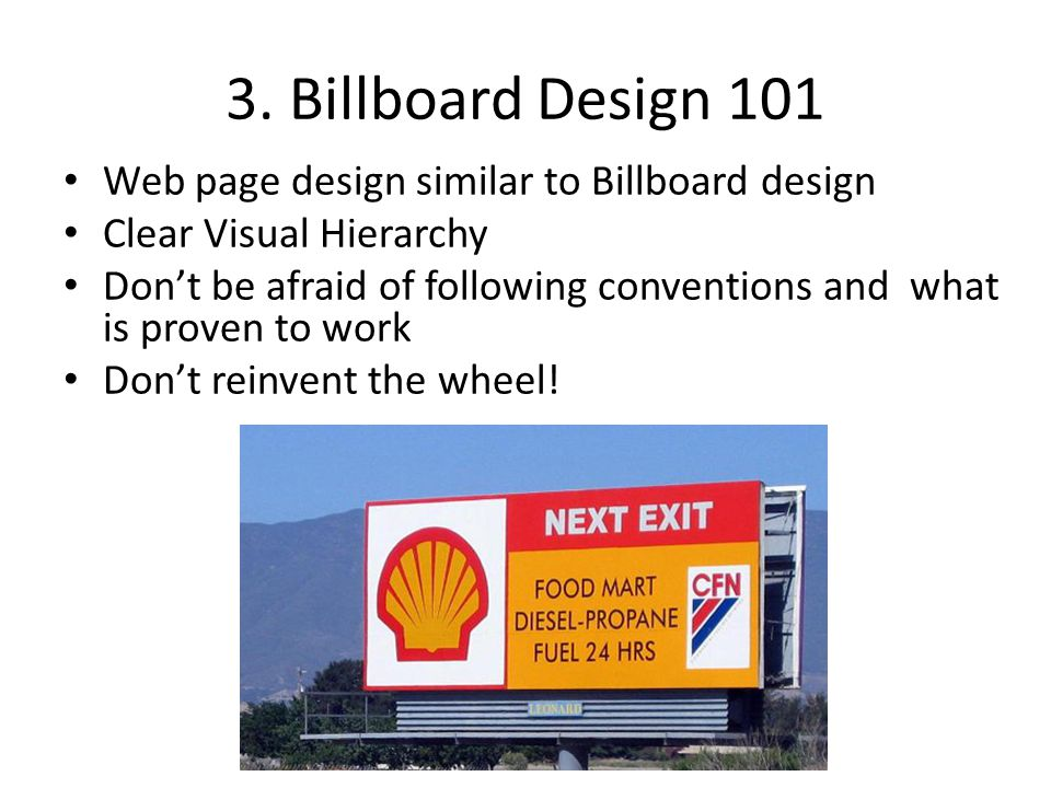 3. Billboard Design 101 Web page design similar to Billboard design