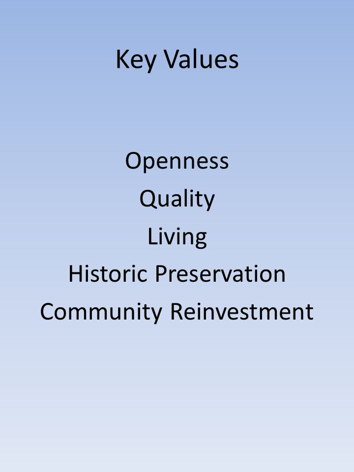 Openness Quality Living Historic Preservation Community Reinvestment
