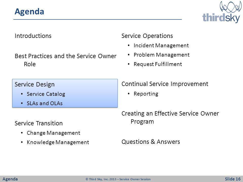 Agenda Introductions Service Operations