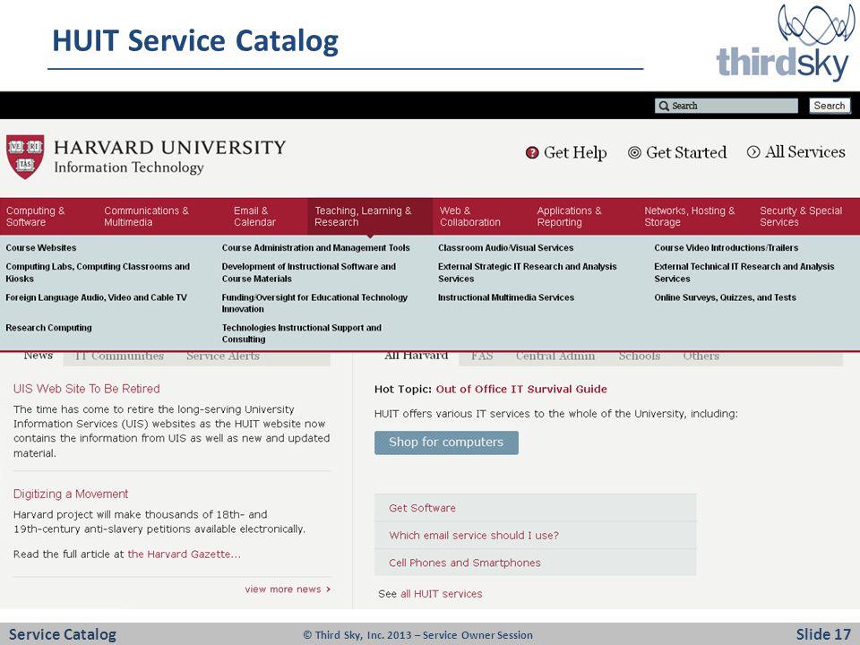HUIT Service Catalog Service Catalog