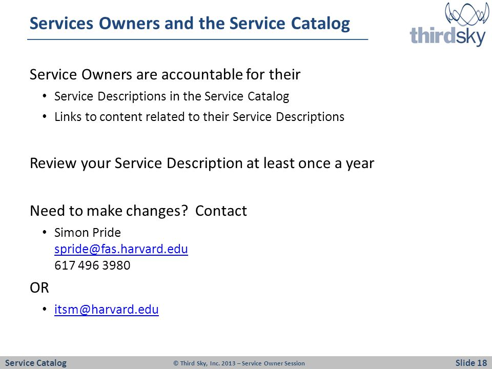 Services Owners and the Service Catalog