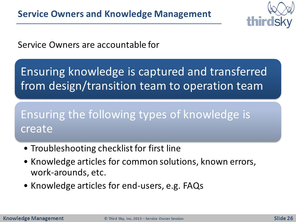 Service Owners and Knowledge Management