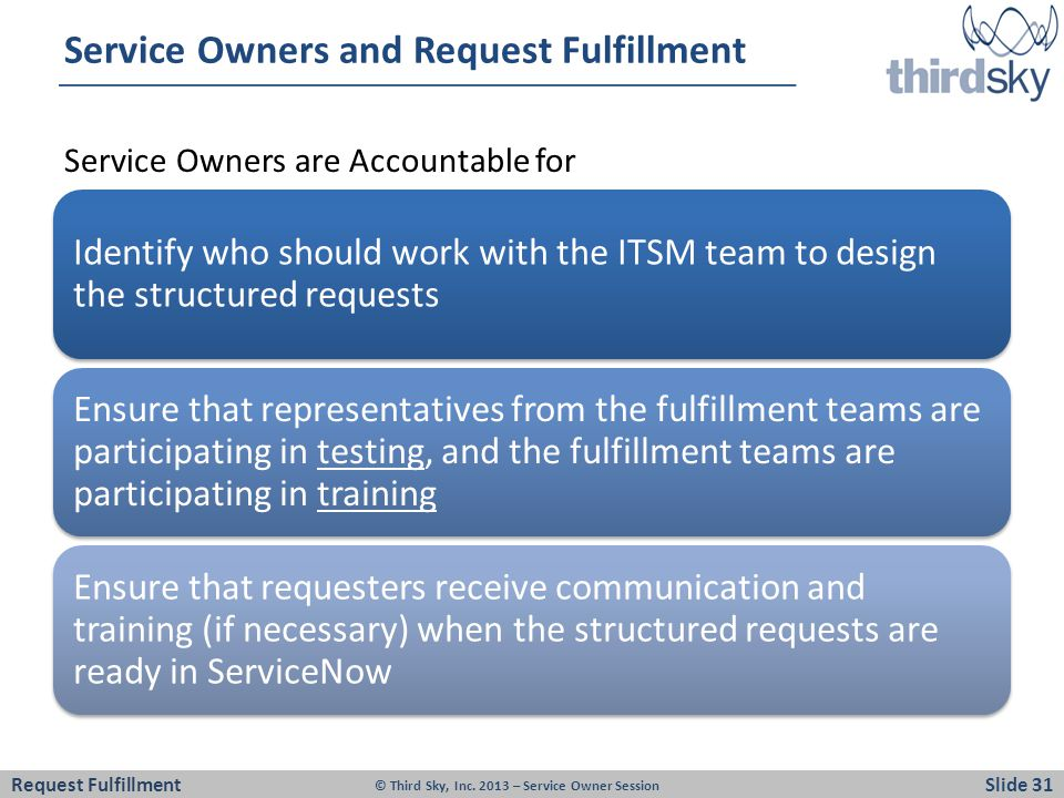 Service Owners and Request Fulfillment