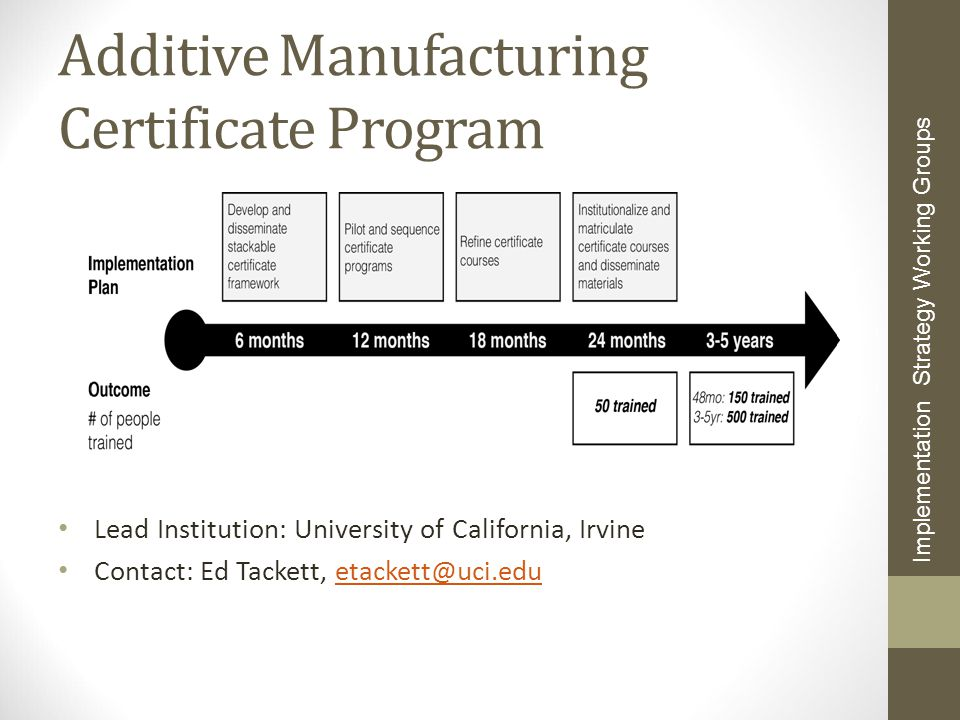 Additive Manufacturing Certificate Program