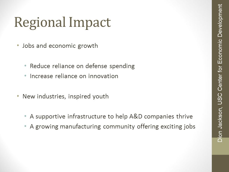 Regional Impact Jobs and economic growth