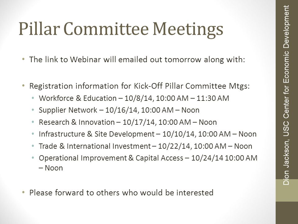 Pillar Committee Meetings