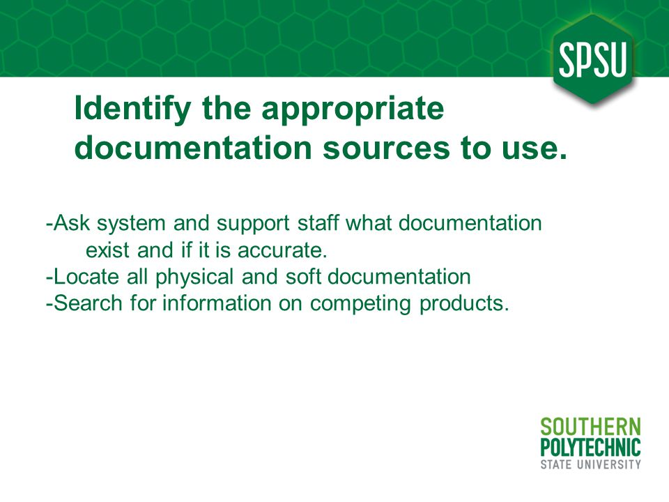 Identify the appropriate documentation sources to use.
