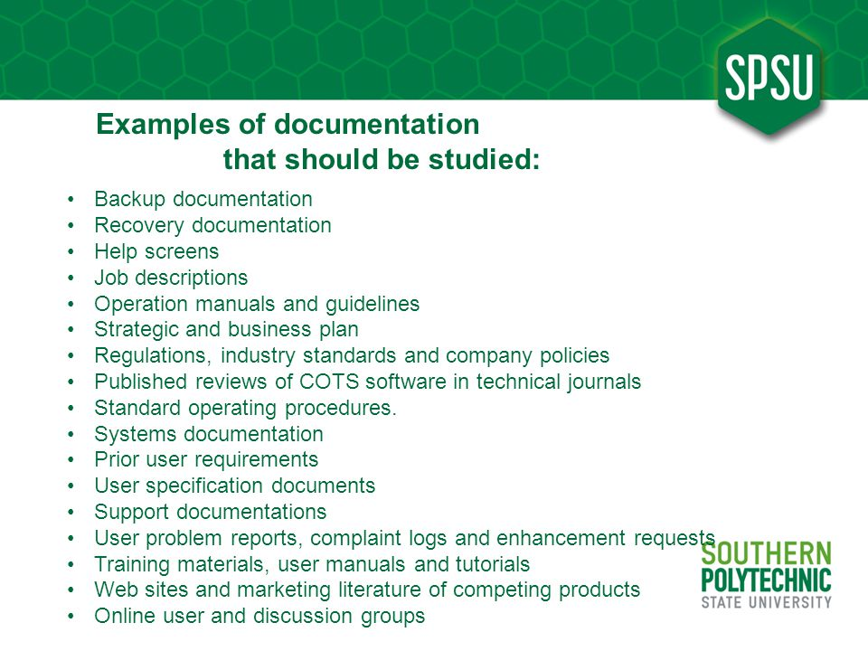 Examples of documentation that should be studied: