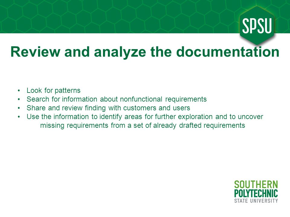 Review and analyze the documentation