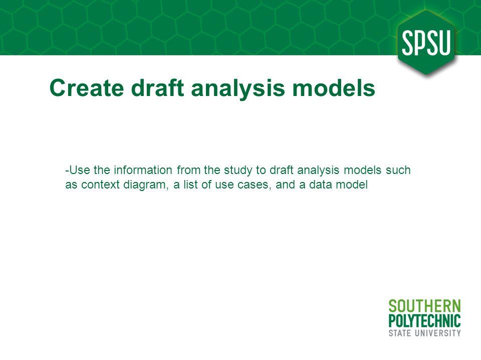 Create draft analysis models
