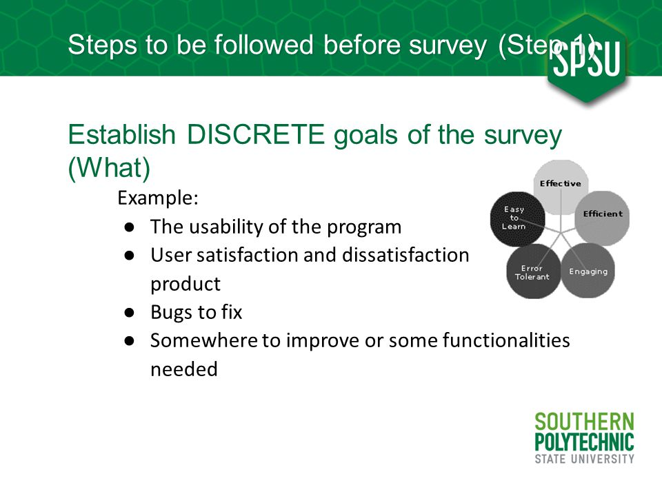 Steps to be followed before survey (Step 1)